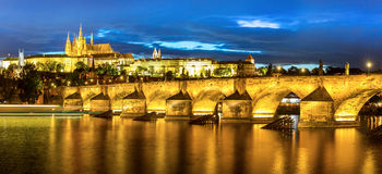 Prague at dusk Royalty Free Stock Images