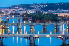 Prague at dusk Stock Photo