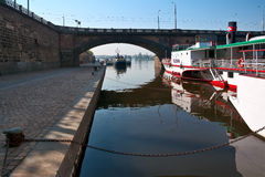 Prague, embankment and bridges over the river Vltava. The picture was taken in spring in the morning, with the banks of the Vltava Royalty Free Stock Images