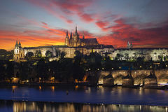 Prague at epic dawn, Charles bridge and Prague castle Stock Photos