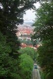 Prague et le funiculaire Photographie stock