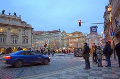 Prague evening bus stop Stock Photography