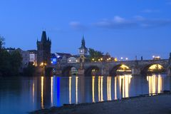 Prague - evening - charles bridge Royalty Free Stock Photo