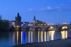 Prague - evening - charles bridge Royalty Free Stock Photo
