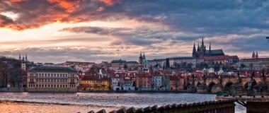 Prague evening panorama Royalty Free Stock Photos