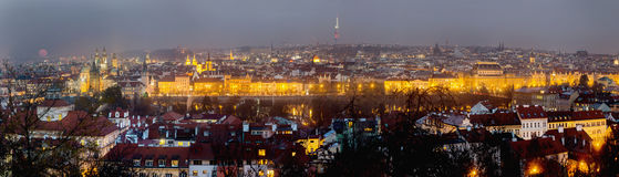 Prague evening panorama with full moon Royalty Free Stock Images