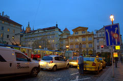 Prague evening traffic Stock Photography