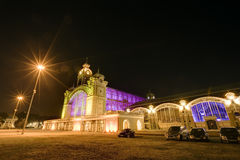 The Prague Exhibition hall at night  in Prague, Czech republic. Stock Images