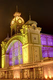 The Prague Exhibition hall at night  in Prague, Czech republic. Royalty Free Stock Images