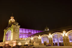 The Prague Exhibition hall at night  in Prague, Czech republic. Royalty Free Stock Photography
