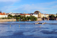 Prague-eye view of the river and National theater. Stock Images