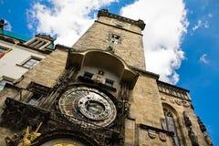 prague för central klocka fyrkantigt torn Royaltyfri Fotografi