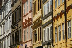 Prague facades, typical architecture Royalty Free Stock Photography