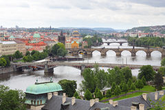 Prague and the famous Charles bridge across Vltava river Royalty Free Stock Photography