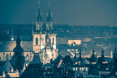 Prague, fantastic old town roofs at night - vintage toned Royalty Free Stock Image