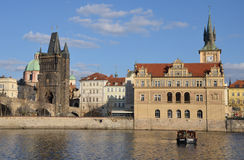 PRAGUE - FEB 23: Bedrich Smetana Museum and Old Town Bridge Tower Royalty Free Stock Photography
