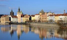PRAGUE - FEB 23: Novotneho lavka in Prague Royalty Free Stock Photography