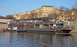 PRAGUE - FEB 23: Restaurant on the river ship Stock Photography