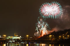 Prague Firework Stock Photo