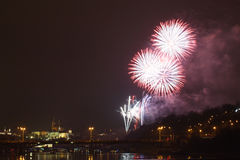 Prague firework Royalty Free Stock Photo