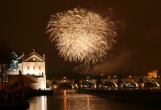 Prague fireworks of the New Year Royalty Free Stock Image