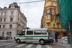 Prague floods - Police. Prague, Czech Republic - June 5, 2013: Police car blocking traffic near Charles Bridge. The Czech capital declared a state of emergency Stock Images