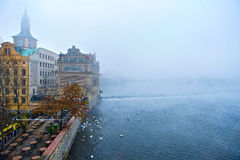 Prague fog. Fine mist in Prague Royalty Free Stock Images