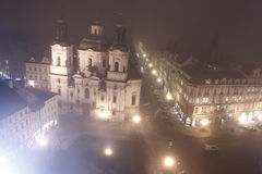 Prague in foggy evening Royalty Free Stock Photography