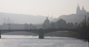 Prague foggy view Royalty Free Stock Image