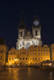 Prague Fortress church. Night view to the old Fortress church on Old Town Square in Prague Royalty Free Stock Photography