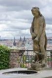 Prague. Fountain of Hercules. View from Gardens under Prague Cas Stock Photography