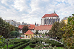 Prague Franciscan garden Panny Marie Snezne. Prague Franciscan garden square (Frantiskanska zahrada) and Church of Our Lady of Snows (kostel Panny Marie Snezne Stock Image
