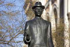 Prague-Franz Kafka sculpture. By Spanish Synagogue stock photo