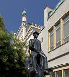 Prague-Franz Kafka sculpture. By Spanish Synagogue royalty free stock photos