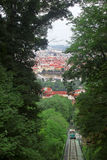 Prague and the funicular. View of Prague from Petrin Hill, Czech Republic. Below you can see the funicular too Stock Photography