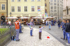 Prague, game with soap bubbles Royalty Free Stock Photography