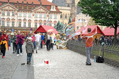 Prague, game with soap bubbles Royalty Free Stock Images
