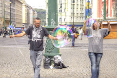 Prague, game with soap bubbles Stock Image