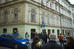 Prague gasexplosion på 29th April 2013 Arkivbild