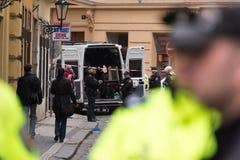 Prague gasexplosion på 29th April 2013 Arkivfoton