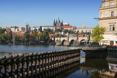 Prague gothic Castle. View on the Prague gothic Castle with the Charles Bridge, Czech Republic Royalty Free Stock Image