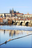 Prague gothic Castle with Charles Bridge Royalty Free Stock Photography