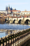 Prague gothic Castle with Charles Bridge Stock Photography