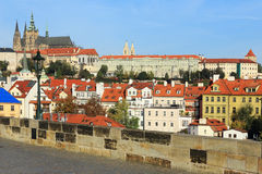 Prague gothic Castle from Charles Bridge Royalty Free Stock Photos
