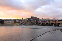 Prague gothic Castle with Charles Bridge after sunset, Czech Republic Royalty Free Stock Image