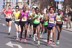 Prague half marathon 2001. The group of runners led by Orphan van Fassen from in Hervis Prague half marathon 2011 held 2.4.2011 royalty free stock images