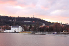 Prague Hill Petrin after Sunset Royalty Free Stock Image