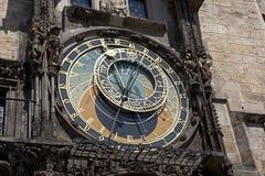 Prague - historiska Astronomical tar tid på Fotografering för Bildbyråer