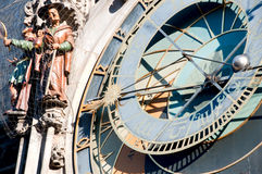 Prague hours. Fragment of an astronomical clock in Prague on the Old City square Royalty Free Stock Photography