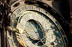 Prague hours. Fragment of an astronomical clock in Prague on the Old City square stock image